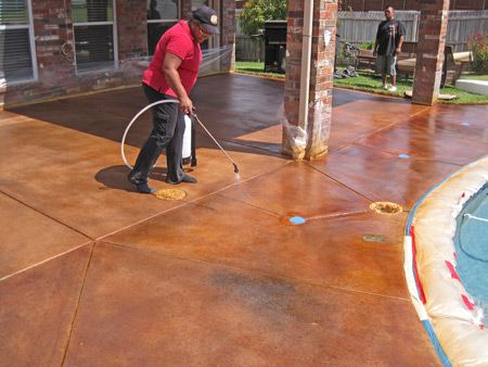 how to stain concrete around a swimming pool | stained concrete