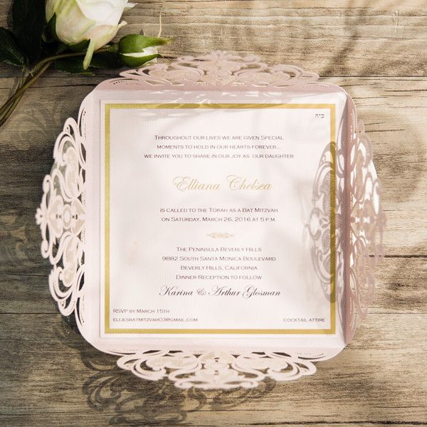 Blush Pink Laser Cut Gold Foil Stamped Wedding Invitations Ewws110