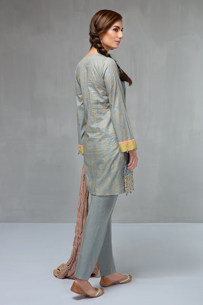Printed piece grey dress by maria b ready to wear eid collection