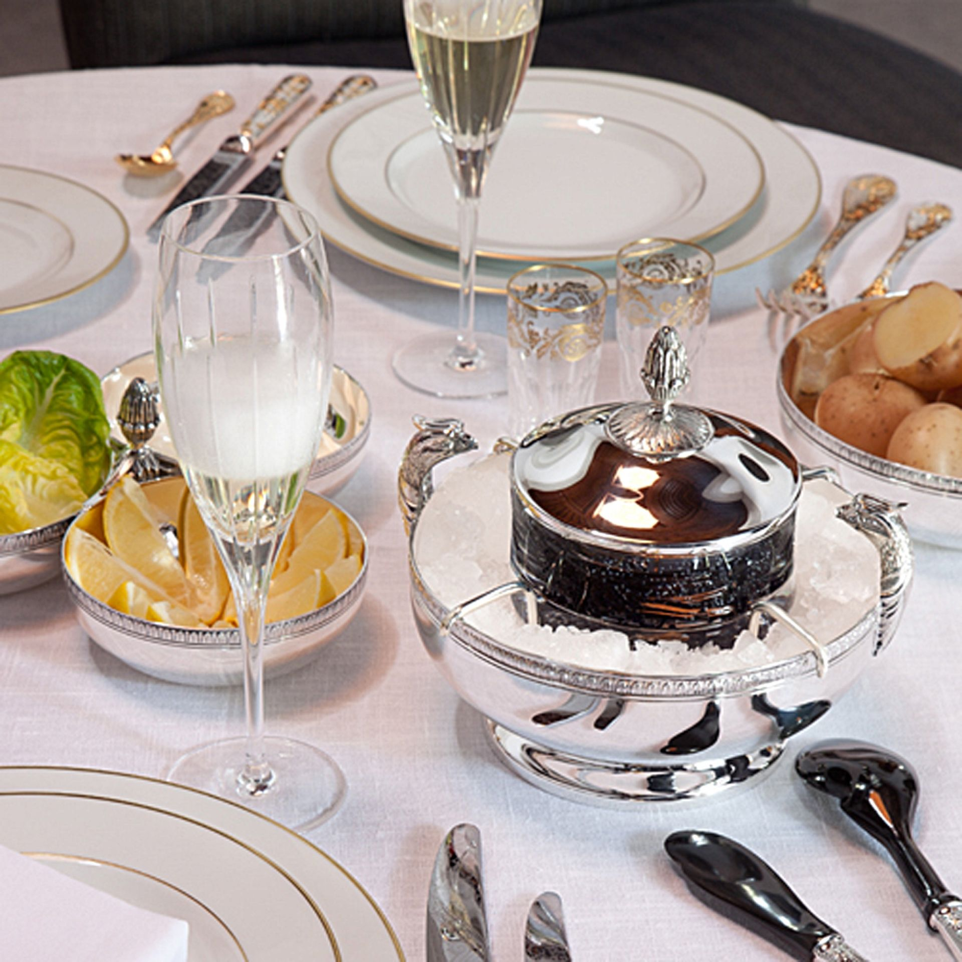 Pin By Boulesse On Christofle Tableware Caviar Wedding