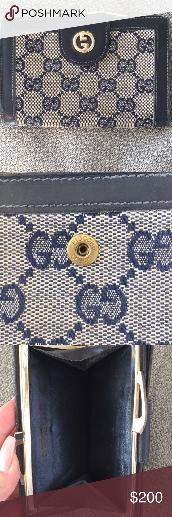 a1730d3c256a Authentic vintage Gucci wallet! Classic Gucci print. Coin purse and wallet.  Fiocchi Lecco emblem on button clasp. Gucci Bags Wallets