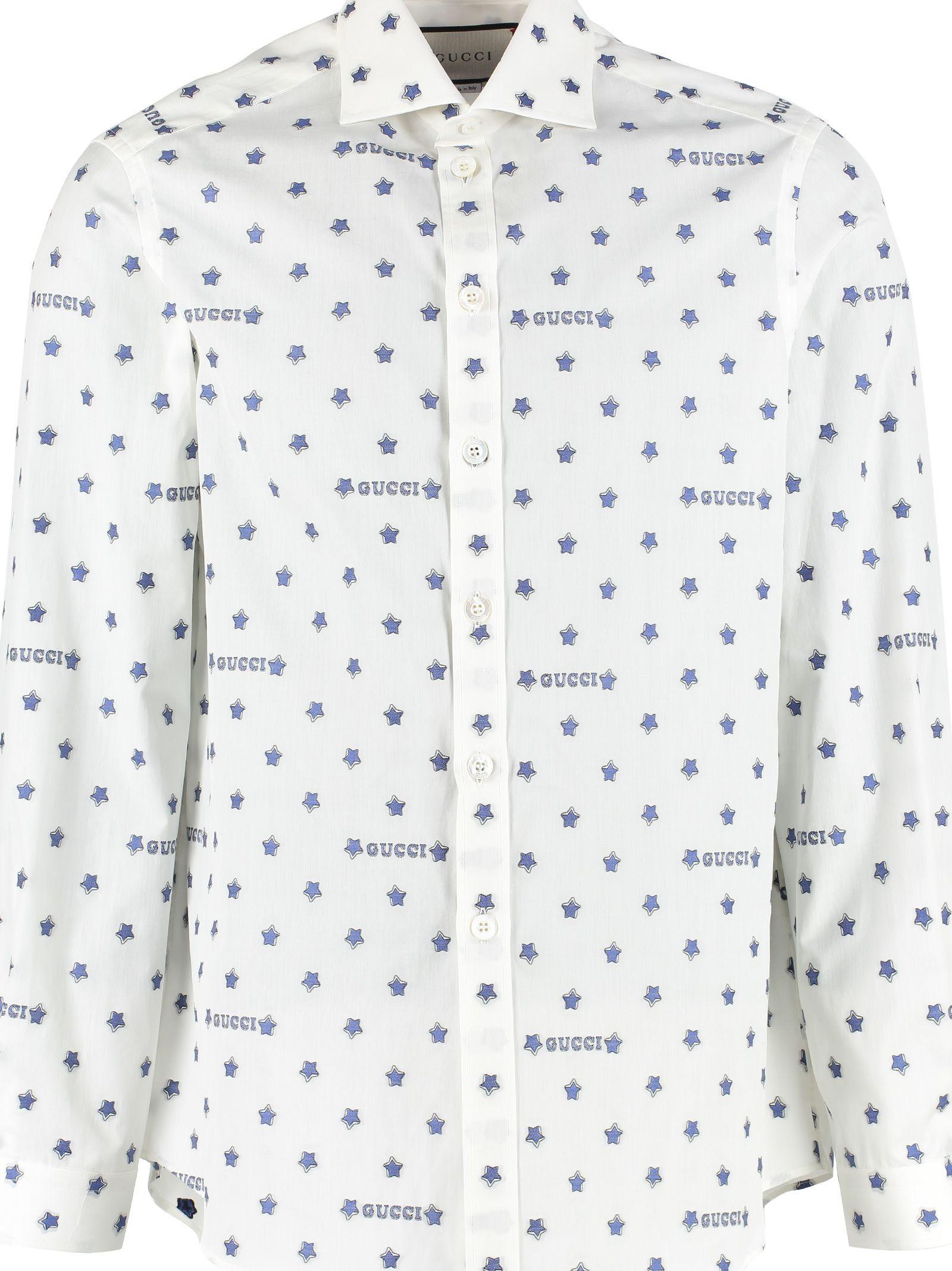 d3899ed714c7 GUCCI STAR AND LOGO PRINT COTTON SHIRT. #gucci #cloth | Gucci in ...