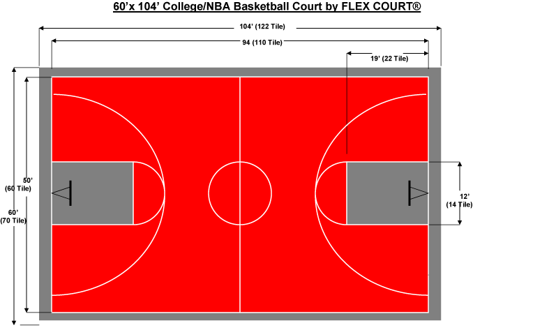 exceptional indoor basketball court size #10: 60 x 104 NBA/NCAA Sized Basketball Court