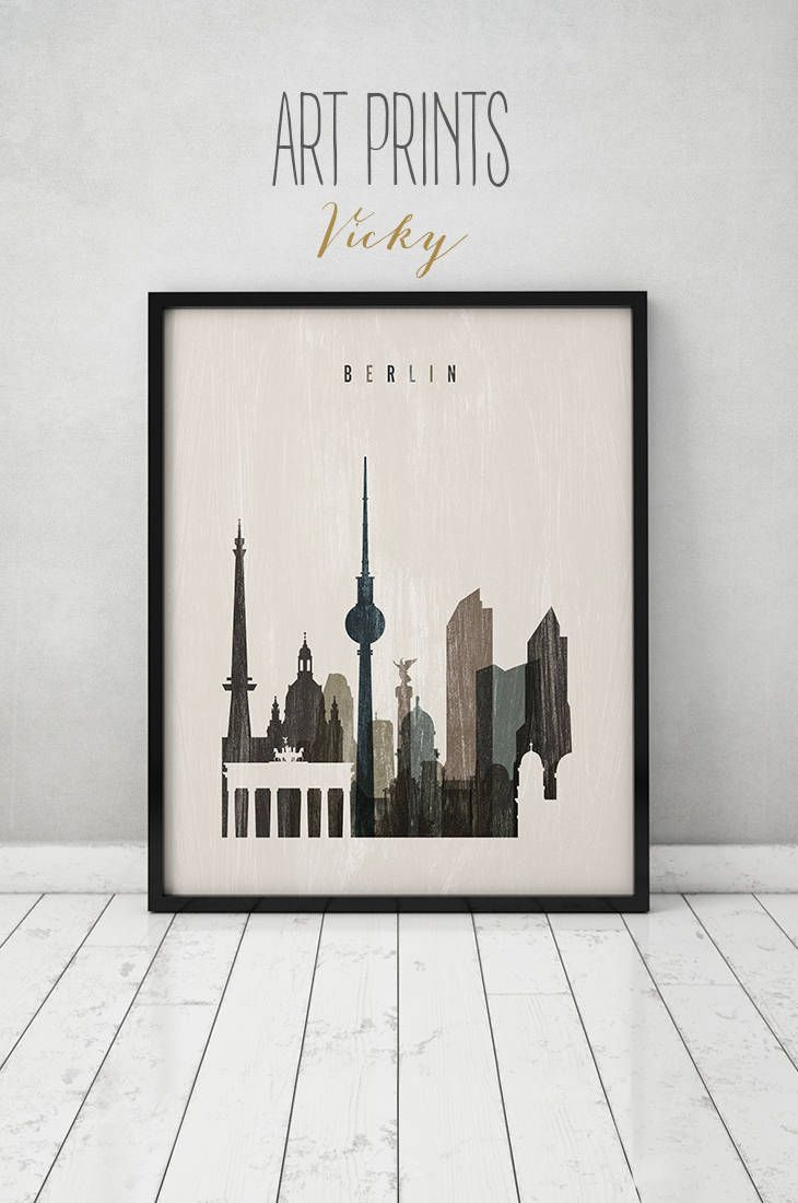 Berlin Art Print Berlin Skyline Poster Travel Wall Art Distressed Germany Deutschland City Print Home Decor Poster Prints Travel Wall Art Art Prints