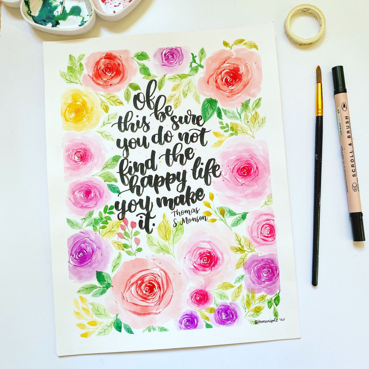 So I tried to recreate my watercolor painting of a flower wreath from years ago and here's what it looks like. You can check the whole process on my youtube channel. #sakurakoi #watercolorarts #flowerwreaths #looseflorals #worldwatercolormonth #brushlettering #brushpencalligraphy #brushpen #watercolorartideas