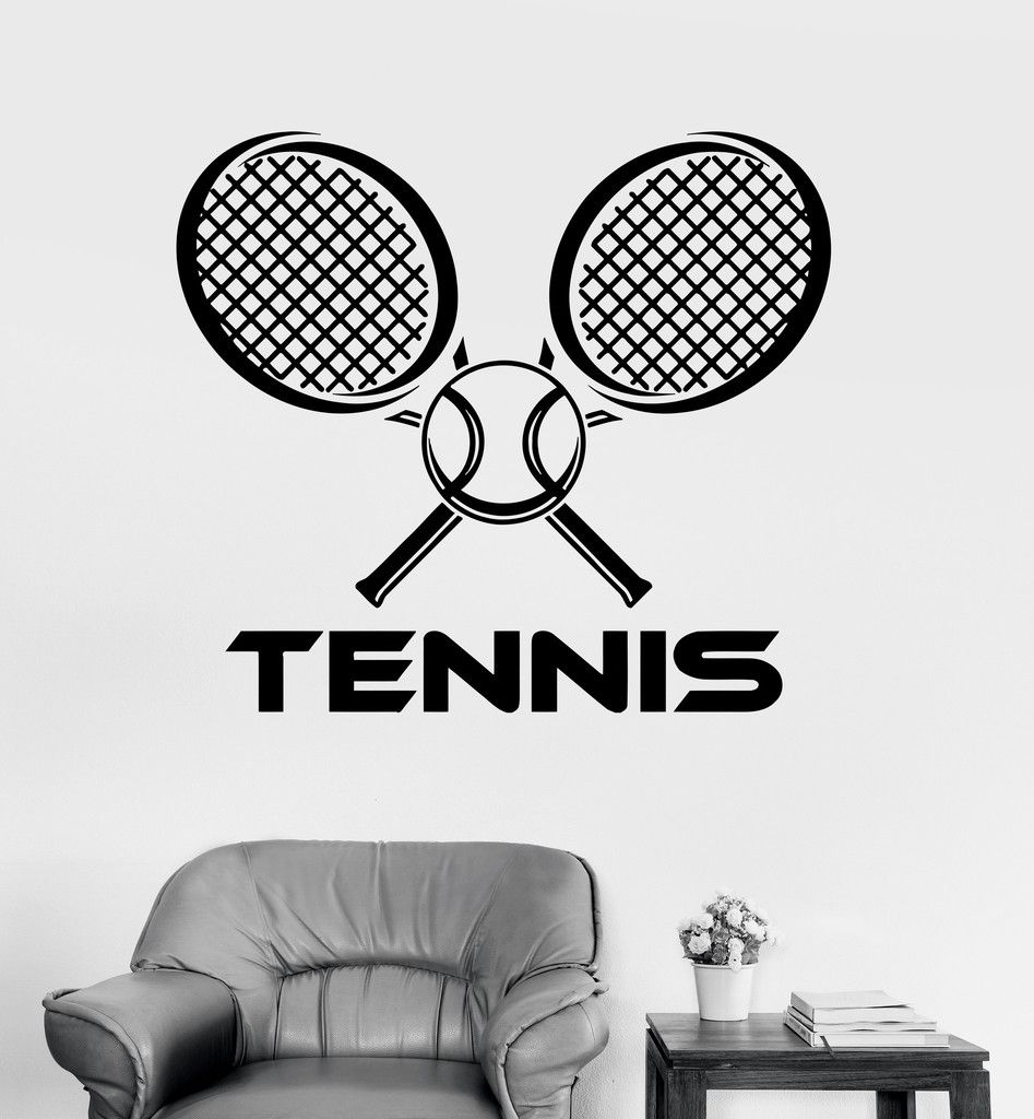 Vinyl Wall Decal Tennis Racket Ball Sports Racquet Stickers Unique Gift Ig3562 Vinyl Wall Decals Wall Decals Tennis
