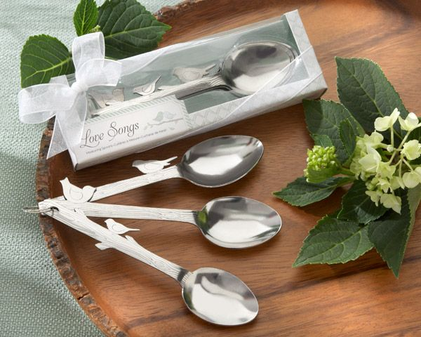 """""""Love Songs"""" Stainless-Steel Measuring Spoons  http://favorcouture.theaspenshops.com/images/Product/13035NA_BirdsSpoons_M.jpg"""