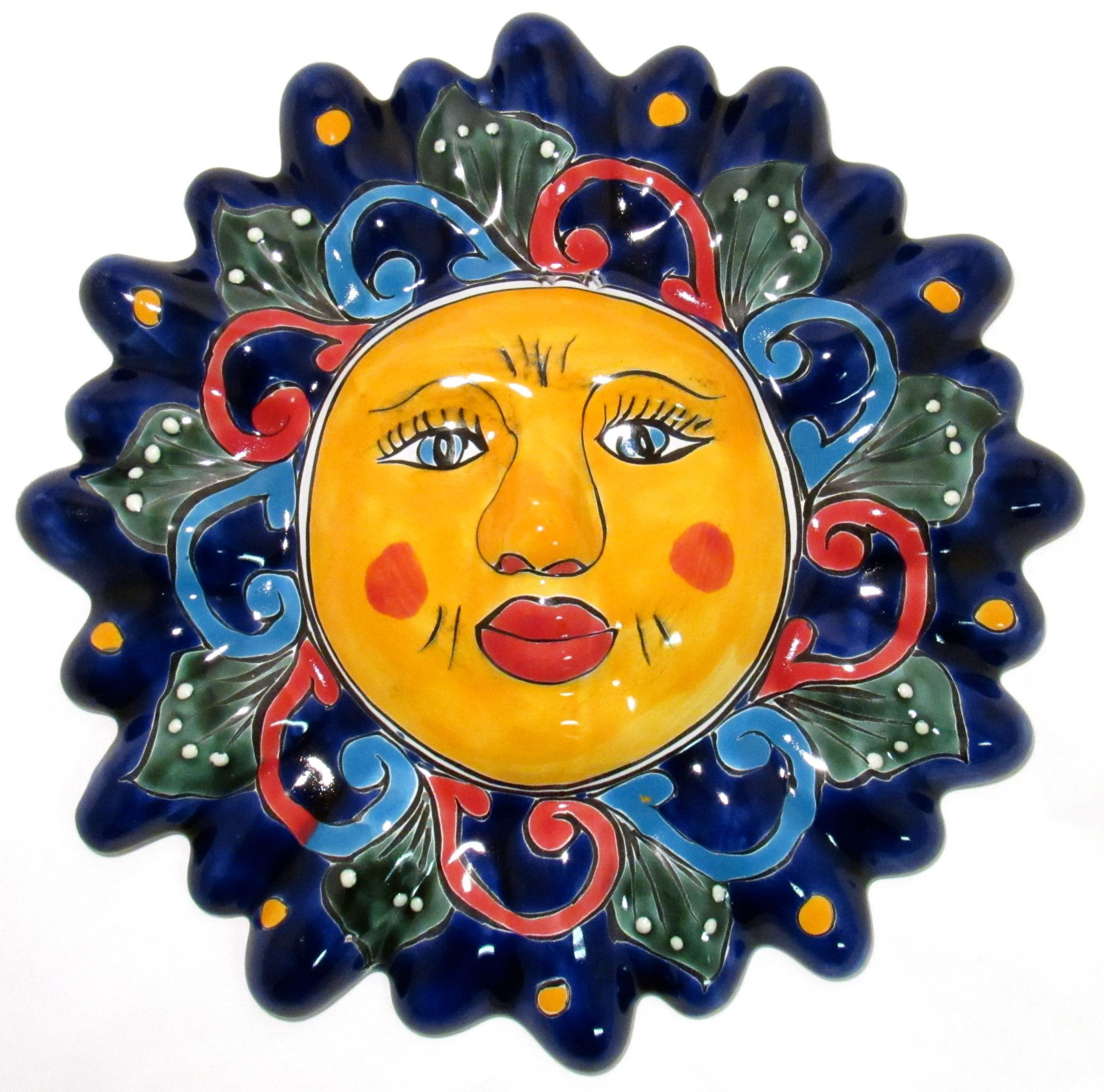 Mexican Wall Hanging Talavera Pottery Sun Face TS12001 | Pinterest ...