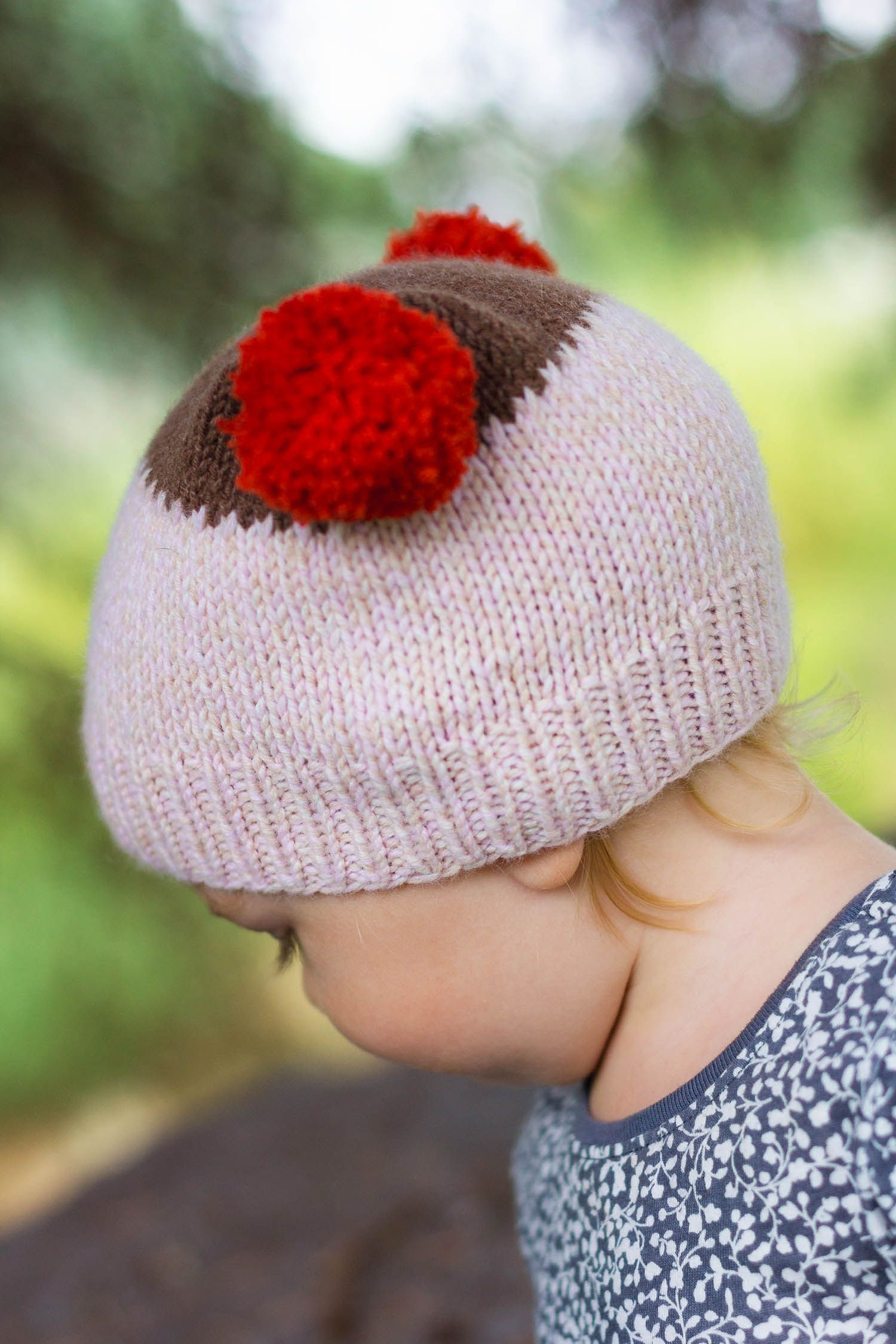 Baby hat knitting pattern with pom pom ears so adorable