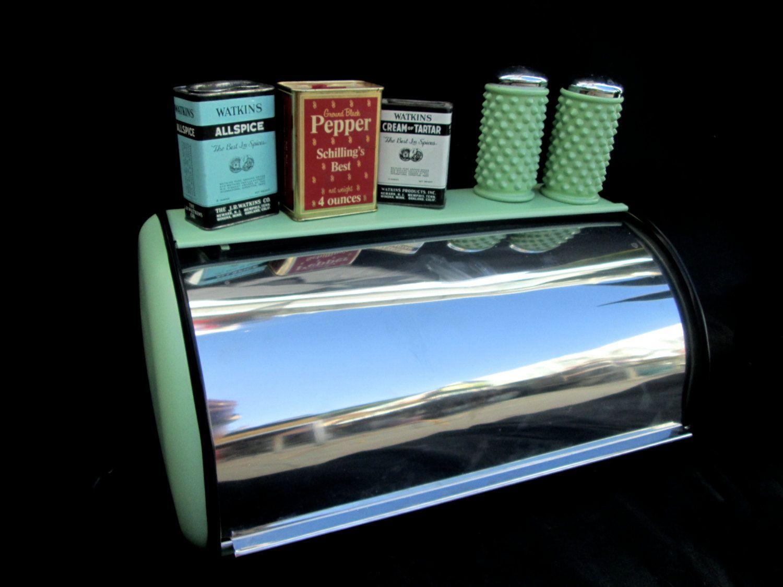 Tin bread box drawer insert - Vintage Retro Jadeite Green Metal Bread Box Bonus Fenton Hobnail Salt Peppers
