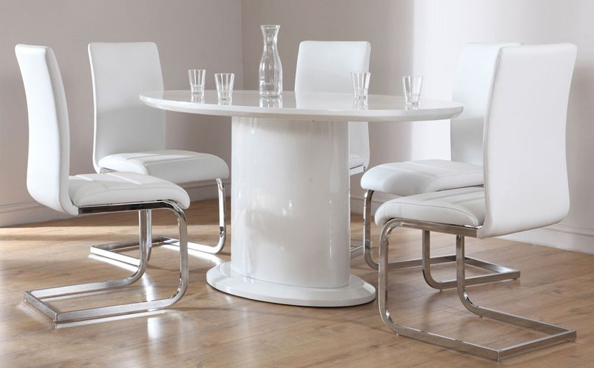 Monaco Oval White High Gloss Dining Table with 6 Perth White Chairs Only £649.99 | Furniture Choice & Monaco Oval White High Gloss Dining Table - with 6 Perth White ...