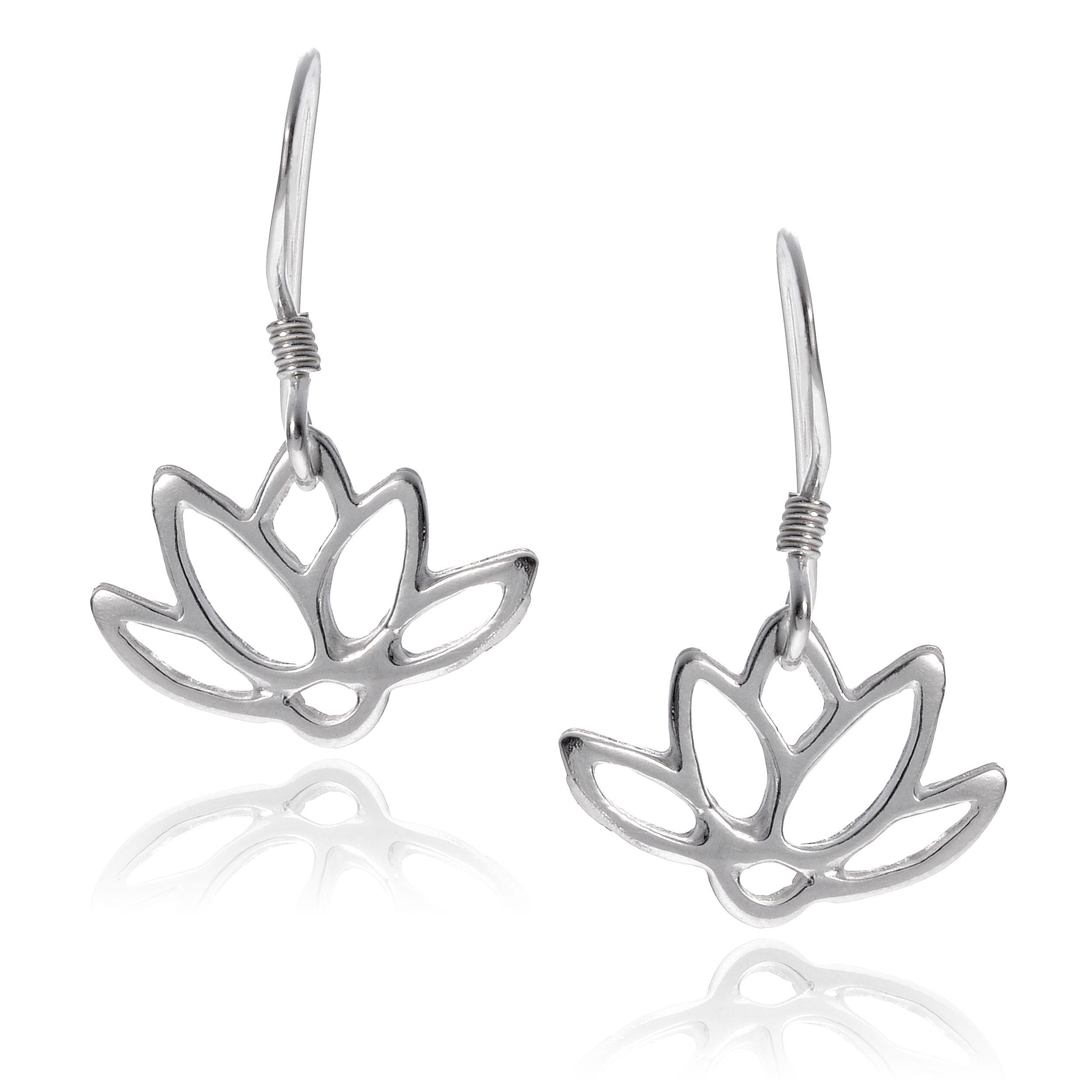 Journee Collection Sterling Silver Lotus Flower Earrings Silver