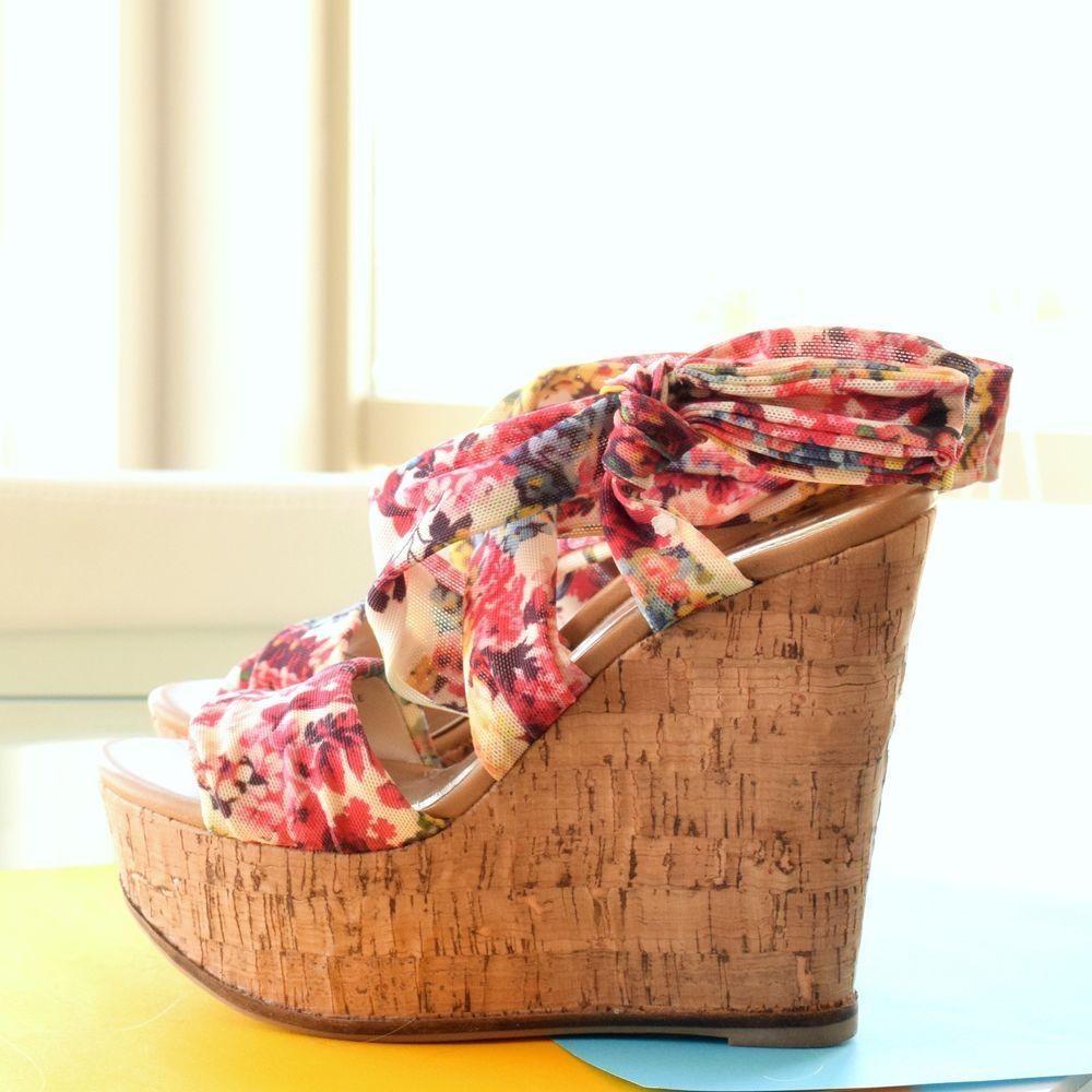 873f10260b3 Zigi Soho Tuscany Wrap Side Bowtie Floral Flower Cork Bottom Platform Heels  7  ZigiSoho  PlatformsWedges