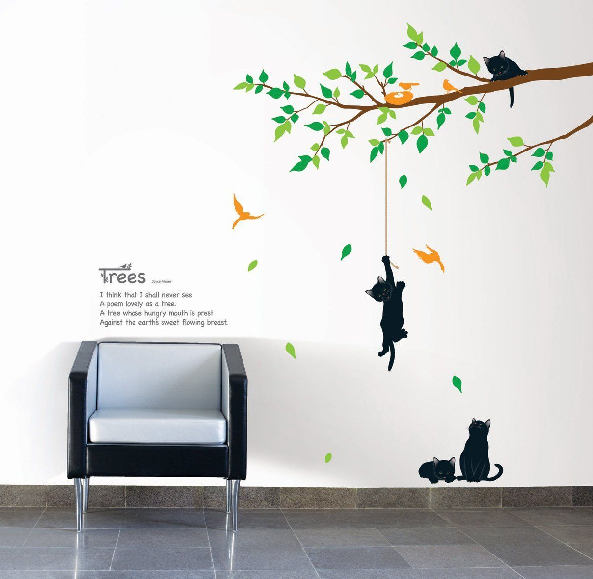 Kitten Poem Tree Repositional Wall Decal