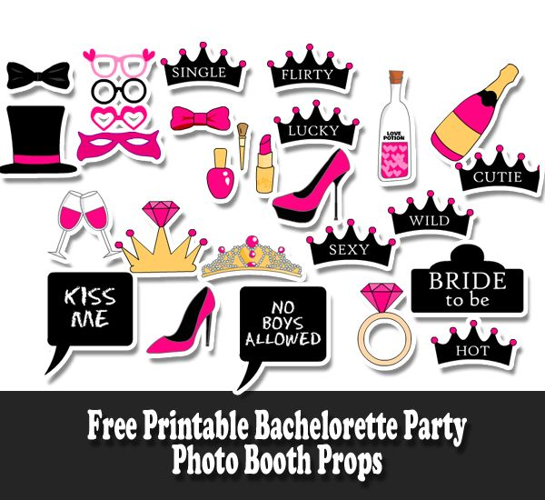 free printable bachelorette party photo booth props bridal