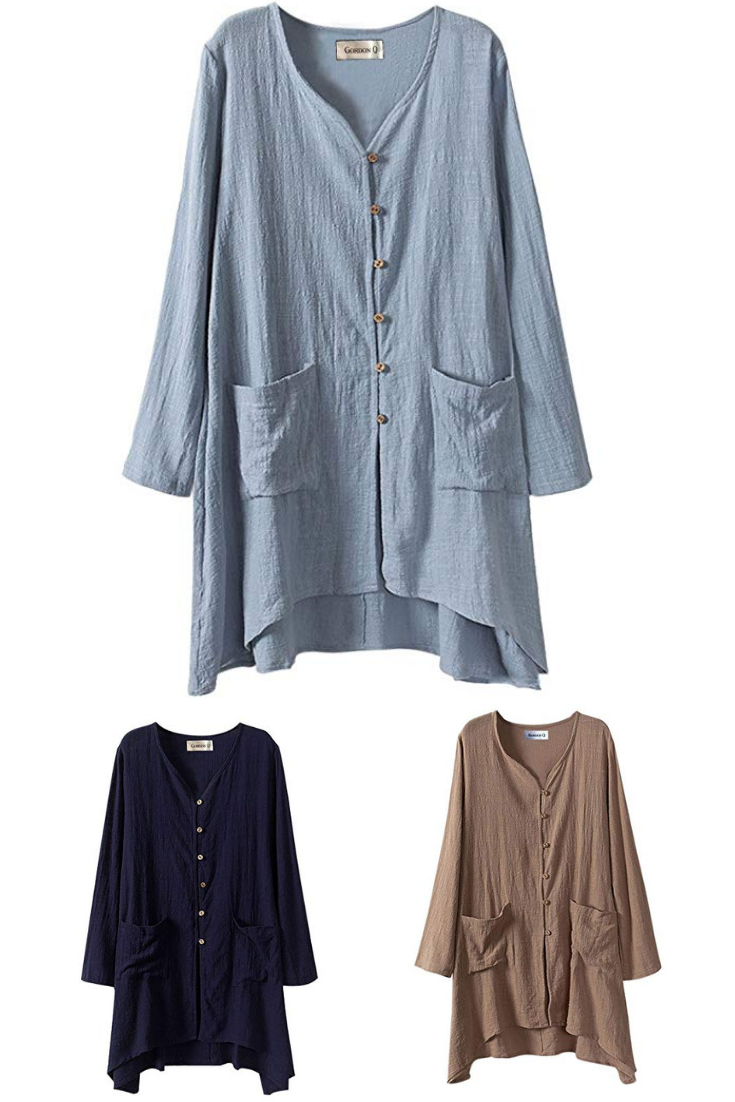 1cab7f7108b500 Gordon Q Women s Linen Comfort Buttons up Plus Size Long Shirts ...