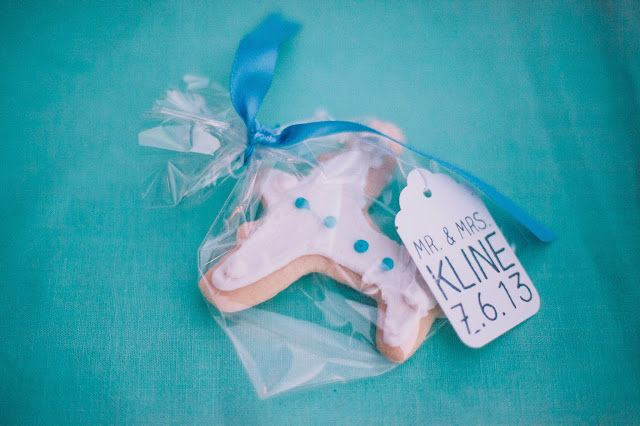 Airplane cookie favors for Travel themed wedding.