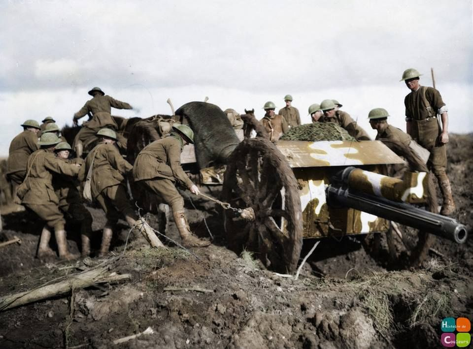 WW1 Colourised Photos  An 18 pounder gun being hauled through the mud at Broodseinde Ridge to a position further forward, in support of the advancing Australians, two days before the initial attack on Passchendaele Ridge, in the Ypres sector. 10 October 1917