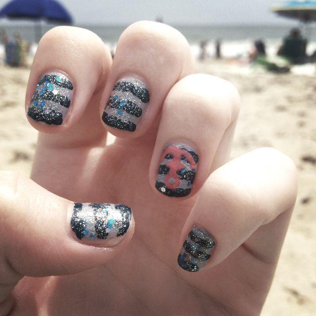 Nautical beachy nails