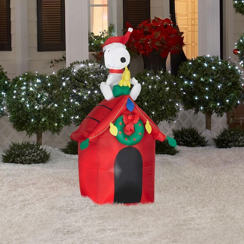 Snoopy Airblown Inflatable Doghouse Woodstock Peanuts Christmas ...