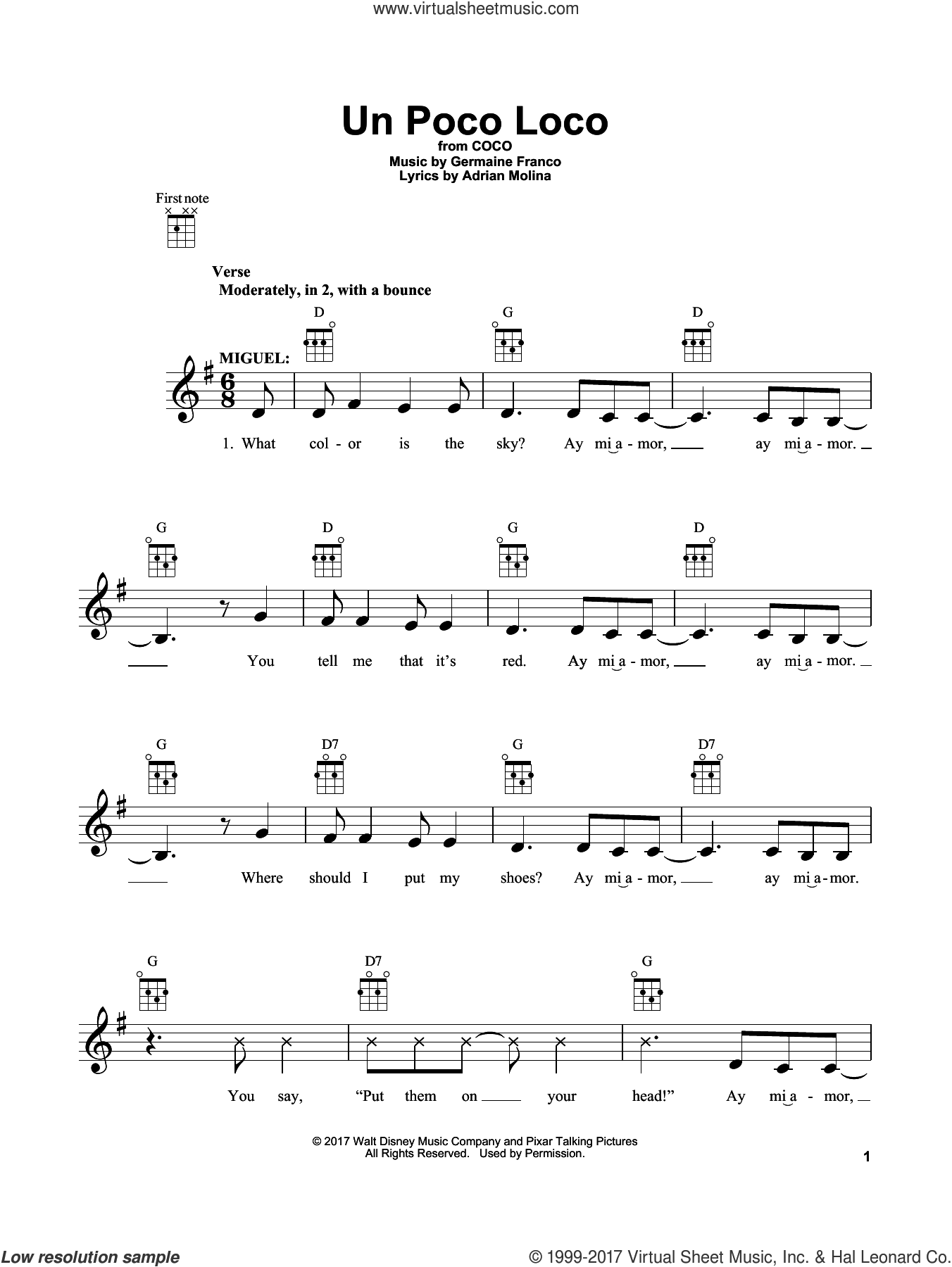 Molina - Un Poco Loco (from 'Coco') sheet music for ukulele