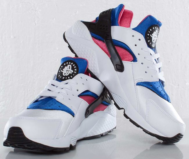 best service 4abcb d68a3 Nike Air Huarache - White, Game Royal   Dynamic Pink (More Images)    KicksOnFire.com