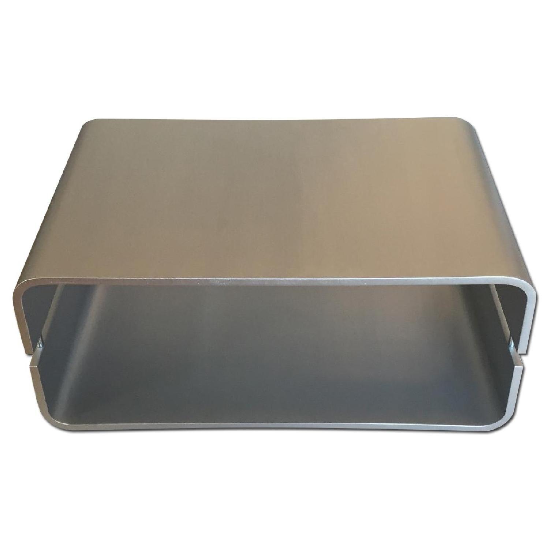 Silver/Aluminum Metallic Modern Molded Plywood Coffee Table