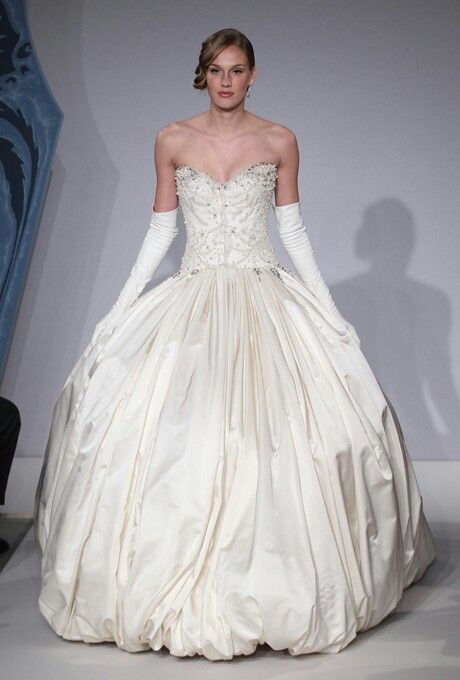 Strapless Silk Taffeta Ball Gown Featuring Intricately Beaded Bodice ...