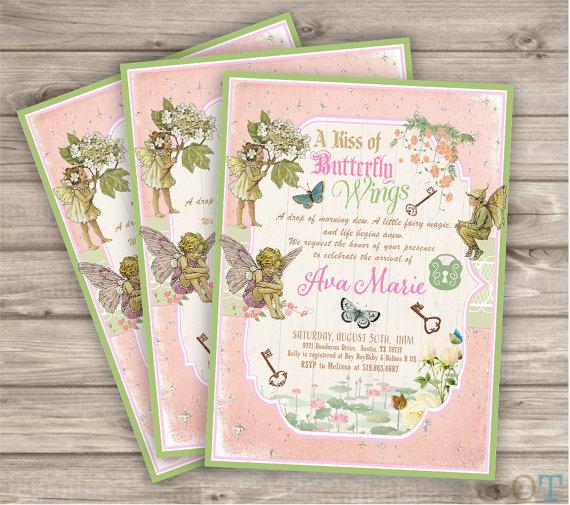 Baby Shower Fairy Woodland Invitations Shabby Chic Theme