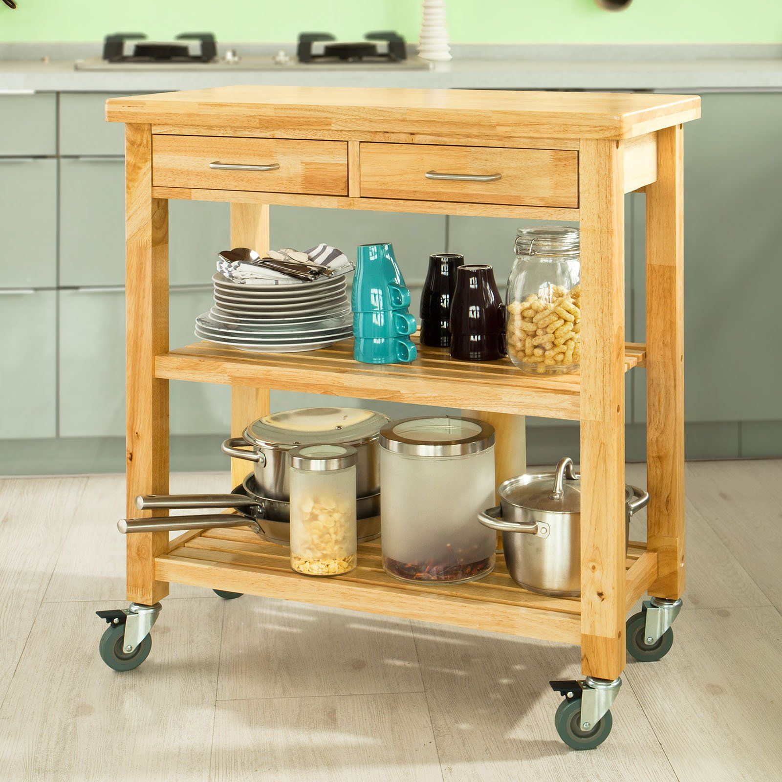 Amazon com sobuy fkw24 n natual rubber wood kitchen trolley cart with two drawers shelves kitchen storage trolley