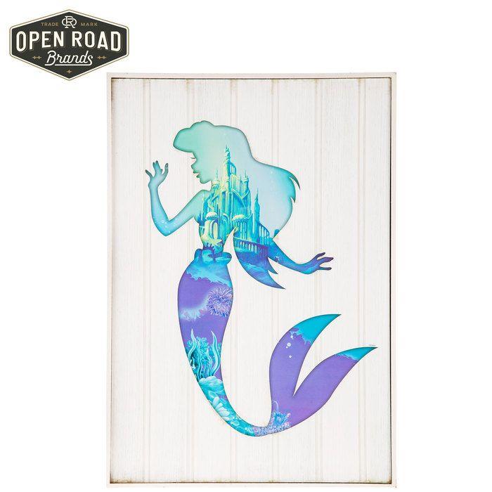 Ariel Silhouette The Little Mermaid Disney Princess Framed Wood Wall ...