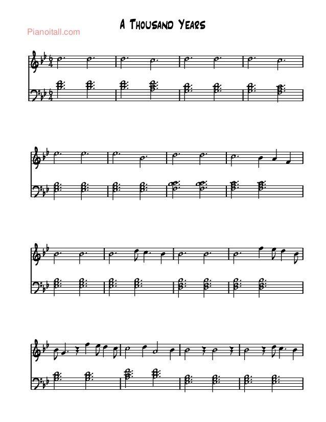 Piano a thousand years sheet music piano free : A thousand years - christina Perri | KLAVIR | Pinterest ...