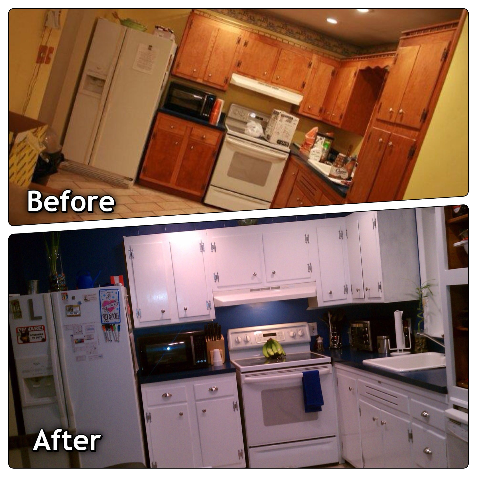 My Kitchen Was A 1970 S Nightmare We Painted The Cabinets With A White Durable Paint Made By Behr My Husband Spra Painting Oak Cabinets Durable Paint Kitchen