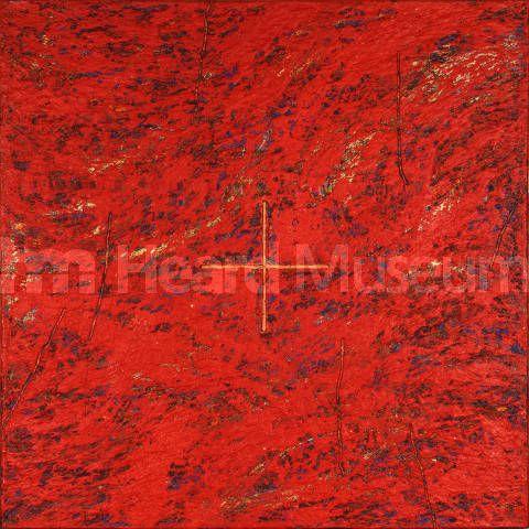 "Painting by Kay WalkingStick (Cherokee/Winnebago) ""Cardinal Points,"" 1985, Heard Museum, Phoenix, Arizona (3505-1)"