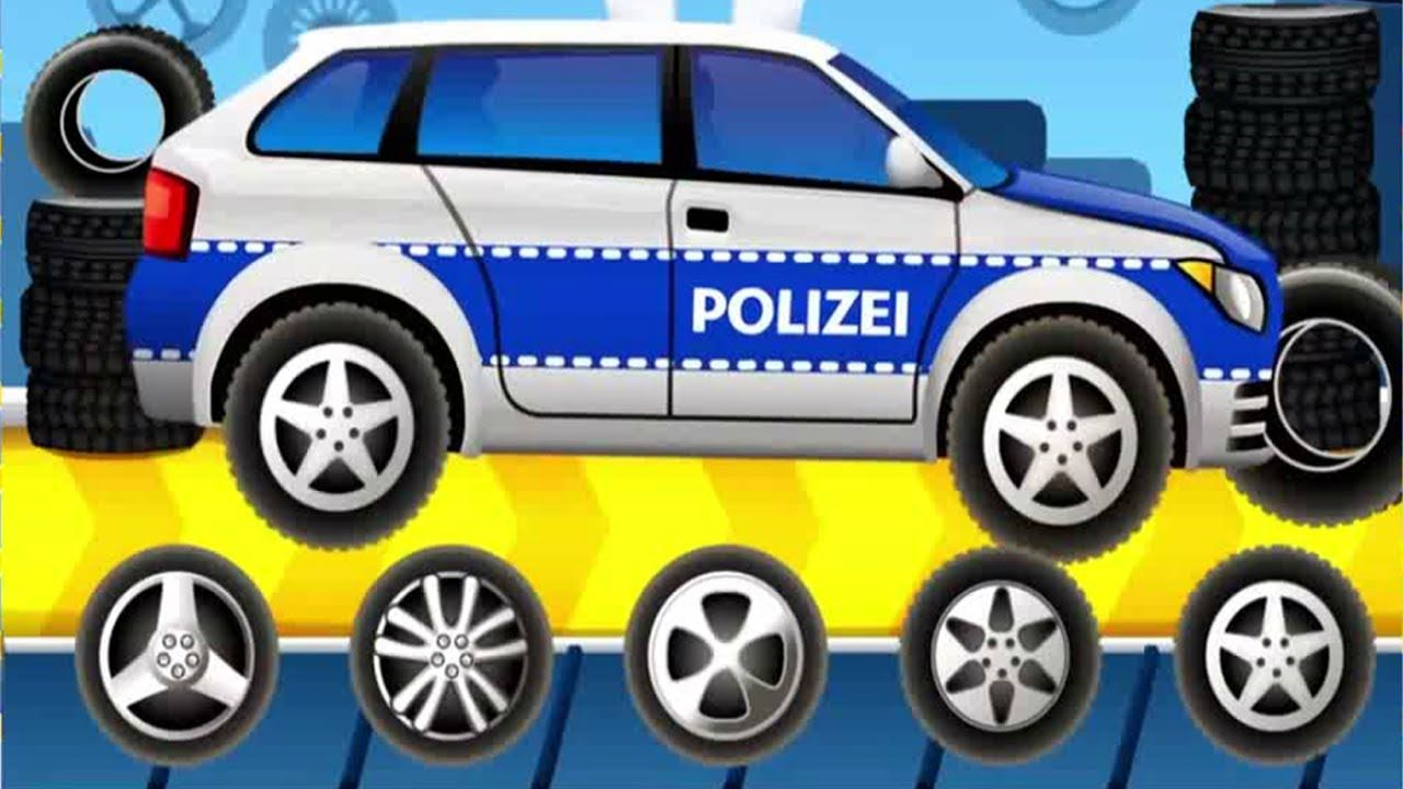 car factory car wash videos for children police car for kids fun