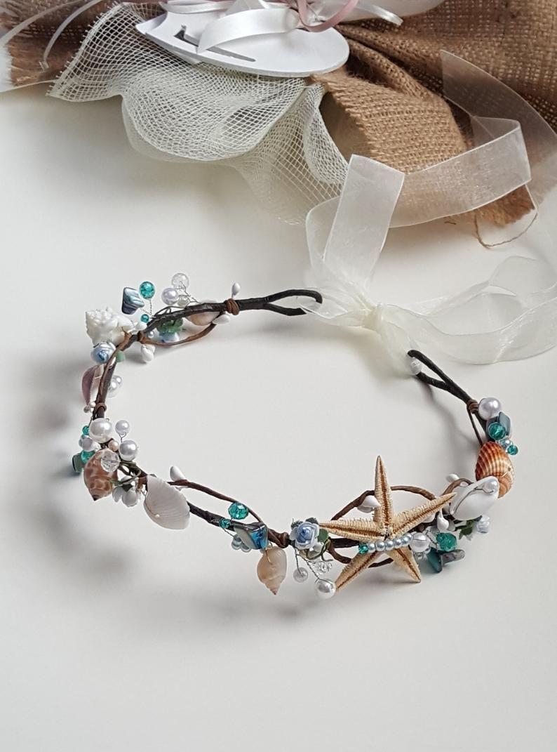 Beach bridal hair wreath Wedding shells hair accessories