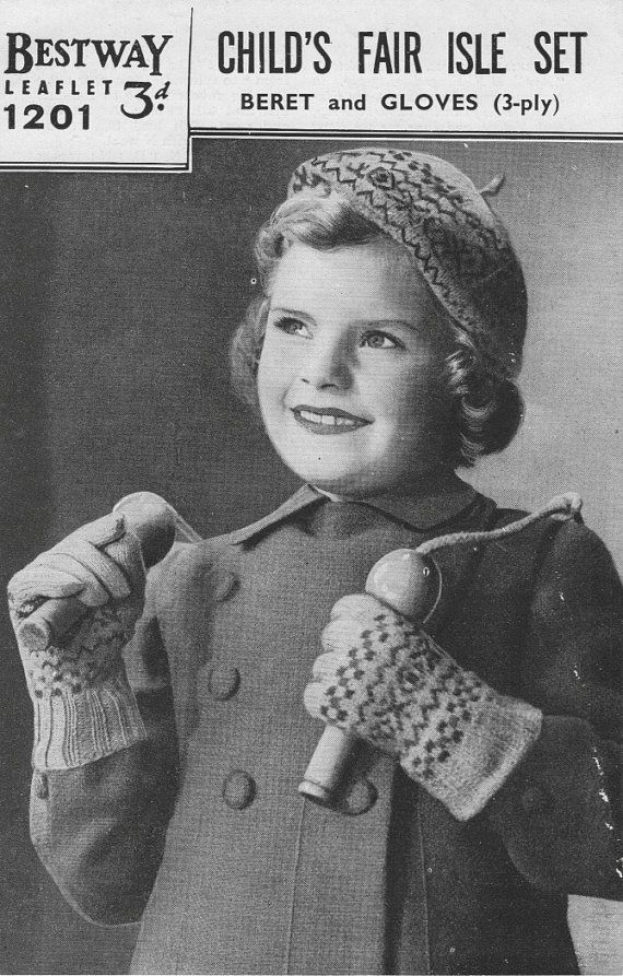 Vintage 1940 S Knitting Pattern Childs Fair Isle Beret Hat