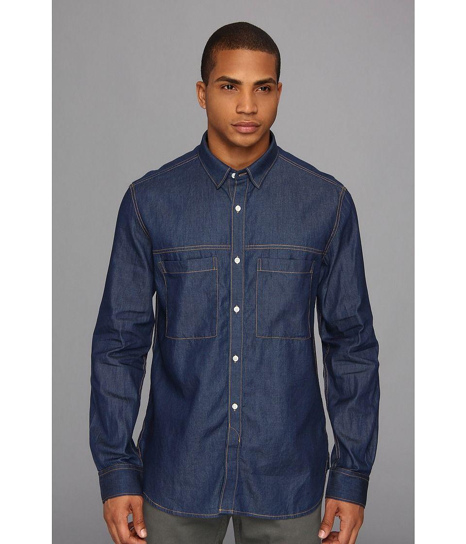 French Connection - David Denim Shirt (Garment Softener) Men's Long Sleeve Button Up