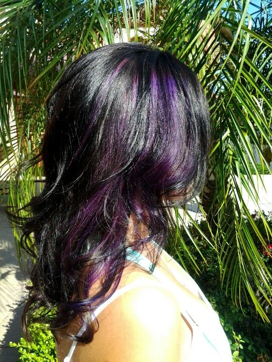 Purple Highlights In Dark Hair Love It Cant Wait To Get Out