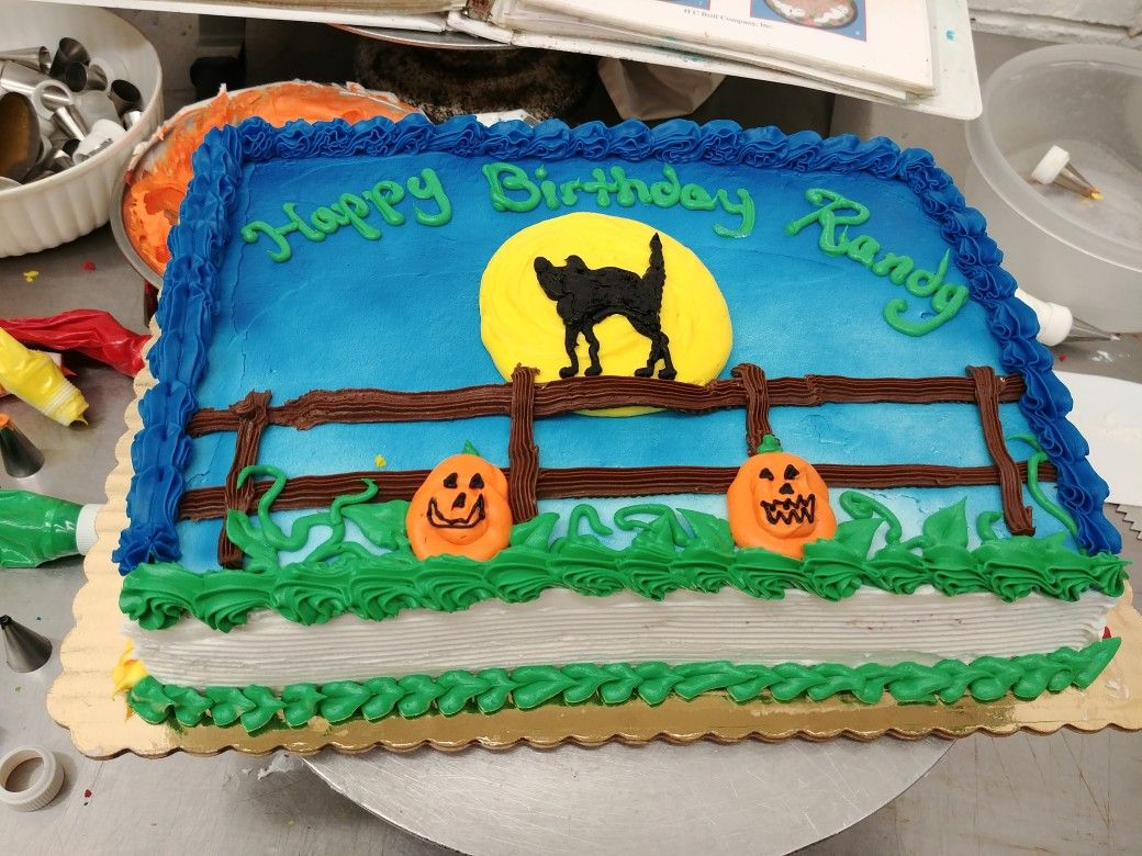 Halloween themed 1/4 sheet cake negocio pasteleria Pinterest - Halloween Cake Decorating Ideas
