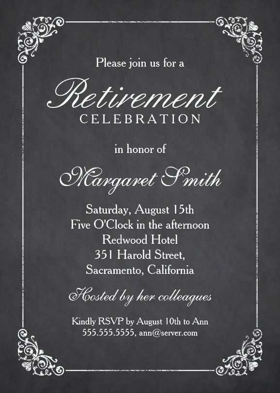 elegant chalkboard retirement party invitation template retirement