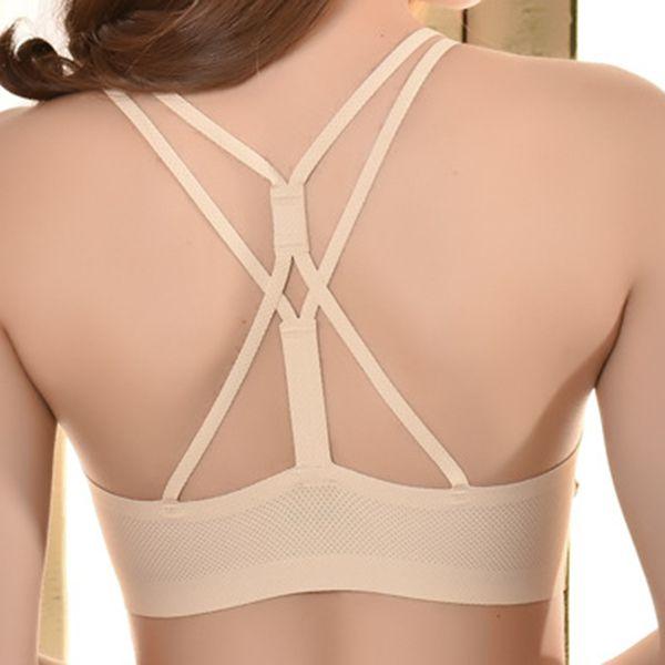 329884d1ab Sexy Breathable Ice Silk Backless Criss-cross Back Bandeau Yoga Sports Bra
