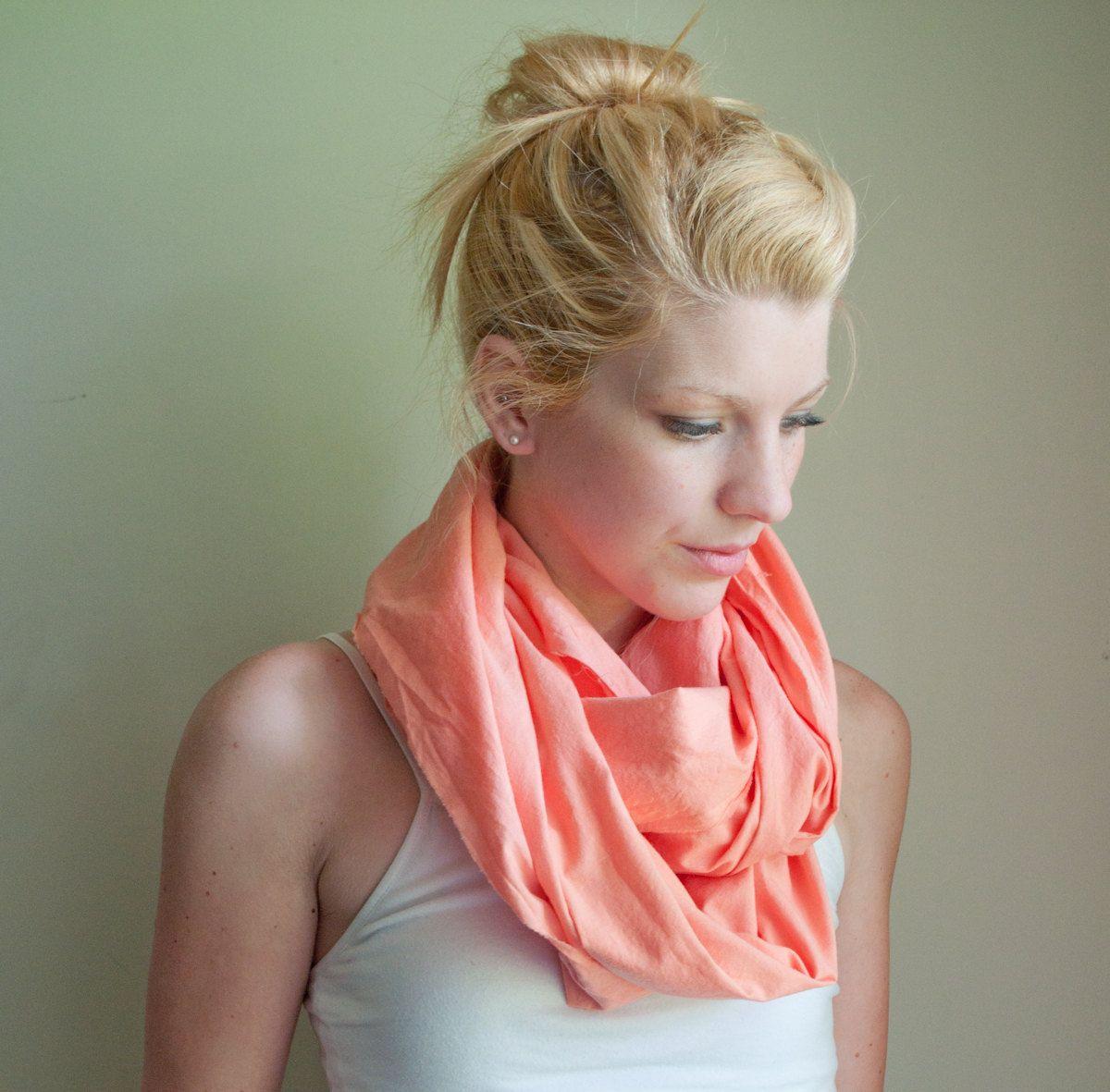 infinity scarf cowl handdyed - peach - lightweight cotton. $13.95, via Etsy.