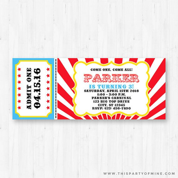 Carnival Ticket Invitation - Printable Birthday Party Circus
