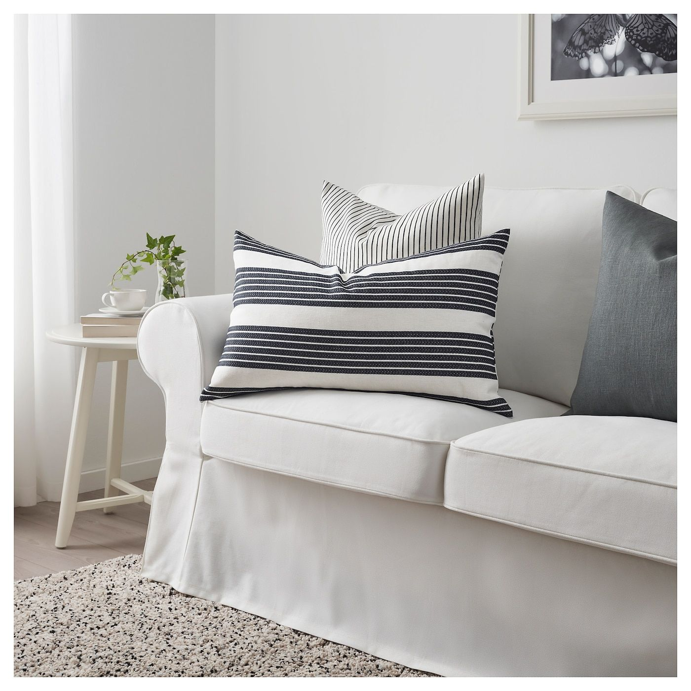 IKEA METTALISE Cushion cover white, dark gray Ikea