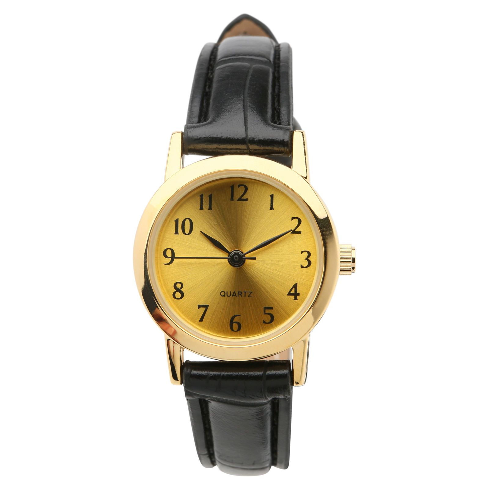 86840b46730 Generic Women s Leather Black Watch with Gold Dial
