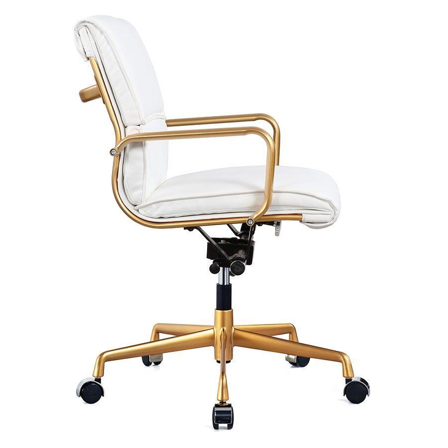 Mindy white gold modern office chair modern office