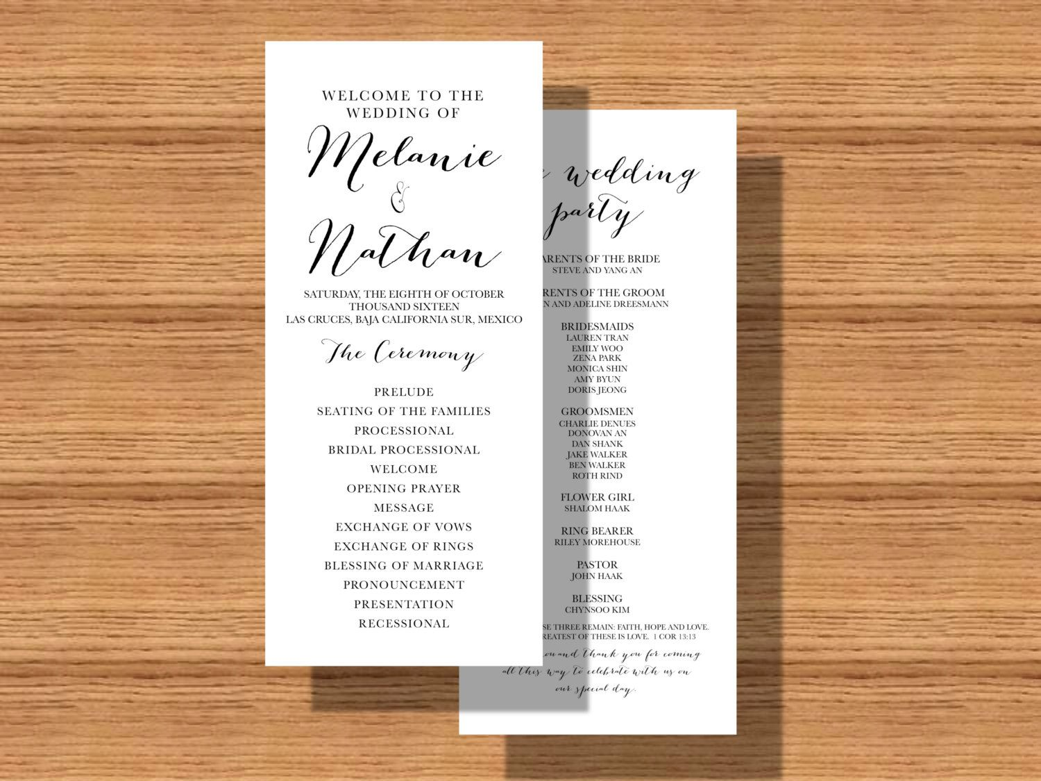 double sided wedding program printable wedding program wedding