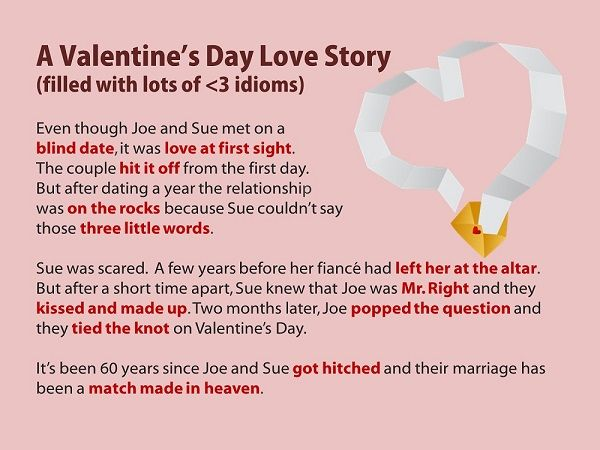 valentines day story idioms esl high school  essay using idioms english idioms