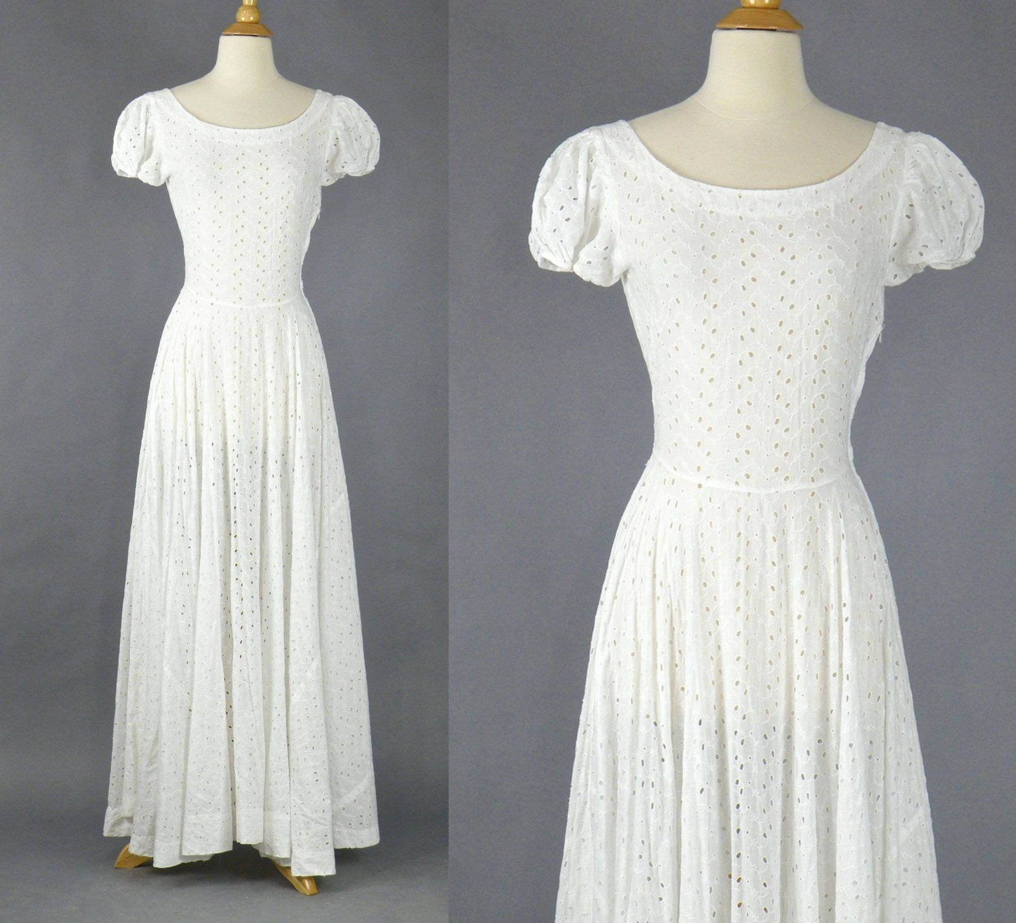 1940s White Eyelet Dress Vintage 40s Cotton Wedding By Daisyandstella On Etsy